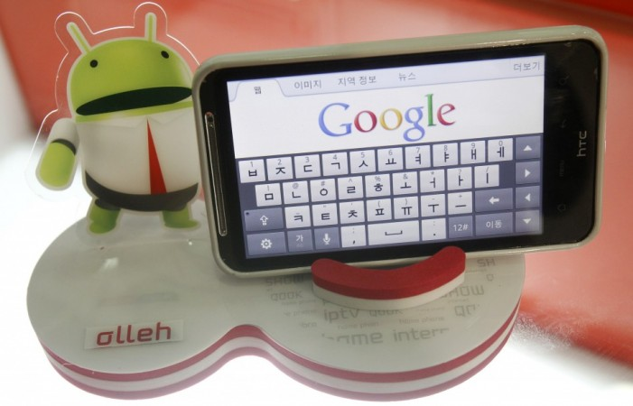 An Android smartphone displays the Google website in this picture illustration in Seoul