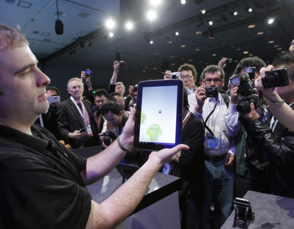 An Android tablet is displayed at the Intel Developers Forum in San Francisco