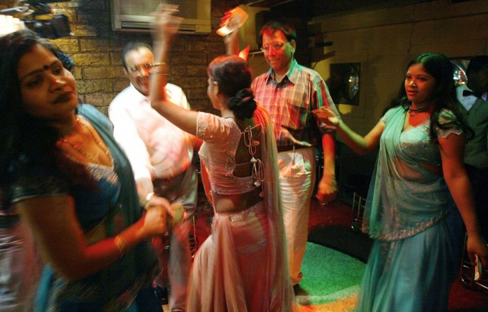 Indian bar girls perform at a dance bar in Bombay.