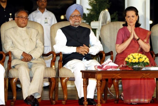 President Pranab Mukherjee, Prime Minister Manmohan Singh along with Congress chief Sonia Gandhi