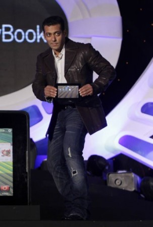 Bollywood actor Salman Khan unveils the BlackBerry PlayBook tablet in Mumbai, India,