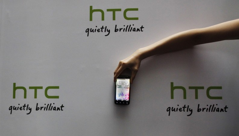 A HTC smartphone on display