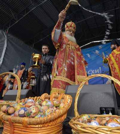 (Representative Image) An Orthodox priest blesses Easter eggs after a religious service in Russia's far Eastern port of Vladivostok