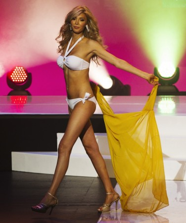 Transgender contestant Jenna Talackova takes part in Miss Universe Canada competition while wearing her bikini in Toronto May 17, 2012. Talackova was originally disqualified from the Miss Universe Canada contest because she was not a