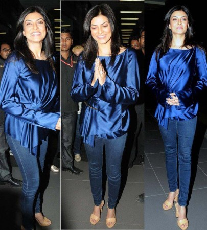 Proud mentor of I AM SHE, also the former Miss Universe Sushmita Sen strikes a pose at Mumbai Airport. Image: Facebook/ I AM SHE