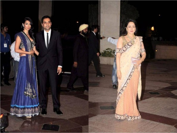 Actress Hema Malini and Cousin Abhay Deol with Long time Girlfriend Preeti Desai at Esha Deol's Sangeet Ceremony (Facebook/IIFA)