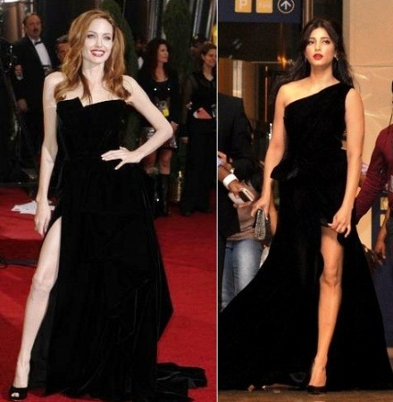 Hollywood actress Angelina Jolie at Oscar awards 2012 (L), Indian actress Shruti Hasan at SIIMA awards 2012 (R). Image: Reuters, SIIMA