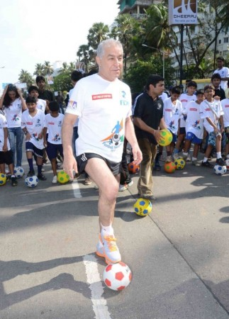 Bollywood actor Dalip Tahil At Football Marathon. Image: Scribes INC