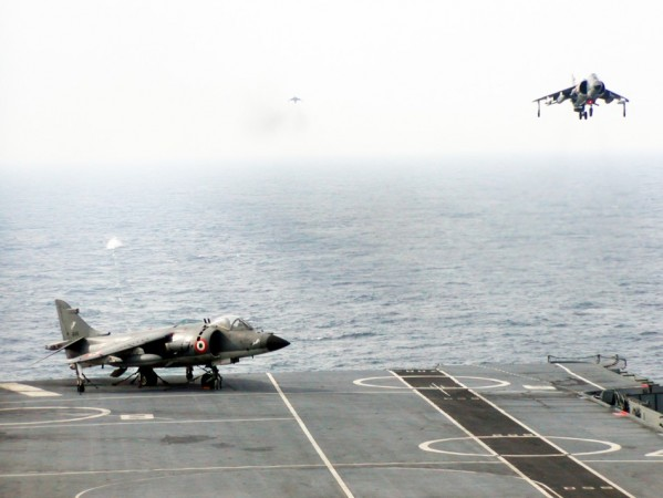 Sea Harrier landing in progress