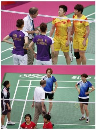 Wang Xiaoli, Yu Yang, Greysia Polii, Meiliana Jauhari, Jung Kyung-eun, Kim Ha-na, Ha Jung-eun, Kim Min-jung