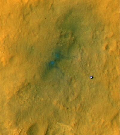Curiosity tire tracks on Mars