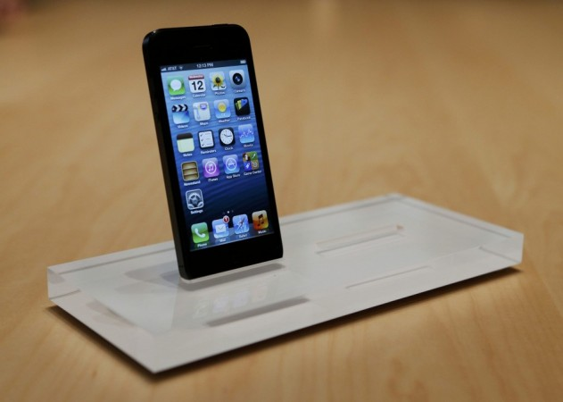 The Apple iPhone 5 is displayed after its introduction during the company's media event in San Francisco on Thursday.