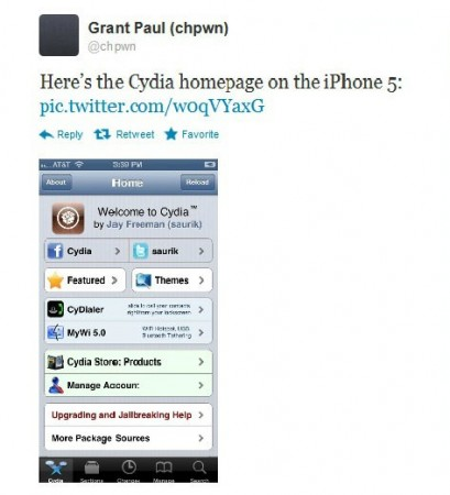Screen shot of Grant Paul's tweets on iPhone 5 jailbreaks