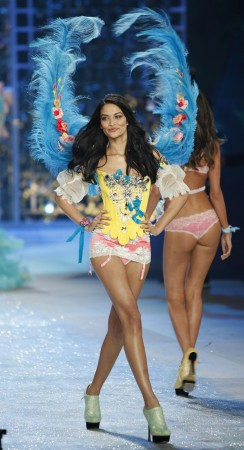 Shanina Shaik presents a creation during the Victoria's Secret Fashion Show in New York
