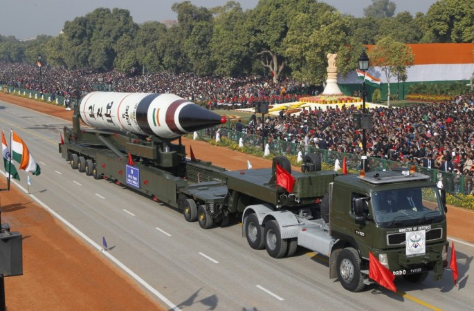 Surface-to-surface Agni V missile is displayed during the Republic Day parade in New Delhi (Reuters)
