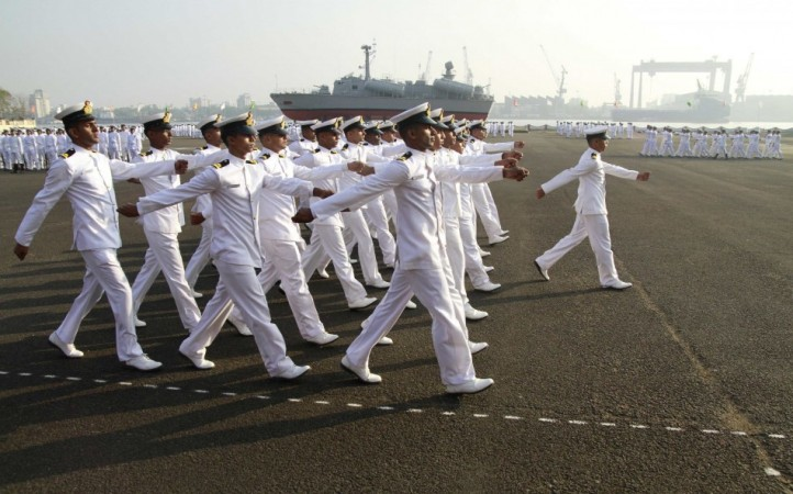 Indian Navy sailors march as they take part in ceremonial parade during Republic Day celebrations at the southern Naval Command in Kochi  (Reuters) .