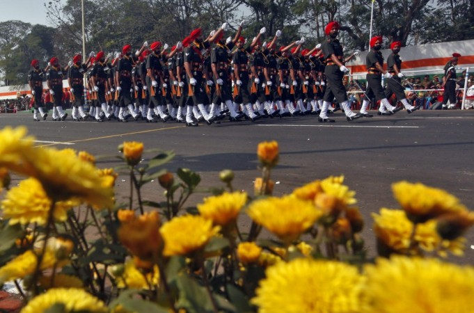 Indian soldiers march during the Republic Day parade in Kolkata (Reuters)