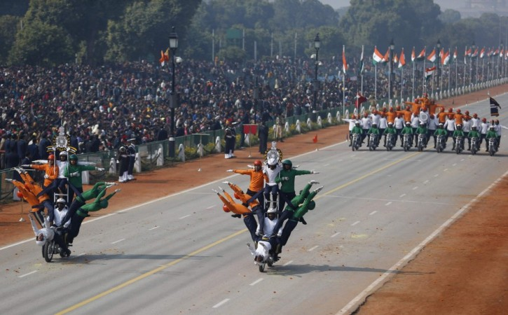 Indian soldiers perform a dare-devil show on their motorcycles during full dress rehearsal for the Republic Day parade in New Delhi on Jan 23.