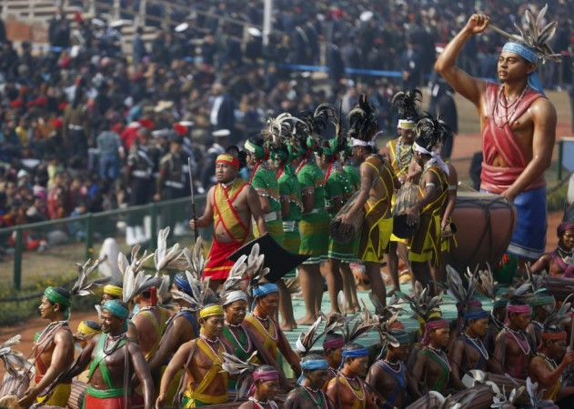 Indian artists perform as they take part in full dress rehearsal for the Republic Day parade in New Delhi on Jan 23.