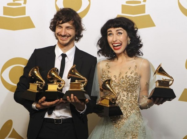 "Gotye (L) and Kimbra pose with the awards they won for Record of the Year and Best Pop Duo/Group Performance for ""Somebody That I Used to Know"" backstage at the 55th annual Grammy Awards in Los Angeles, California February 10, 2013. Gotye also w"