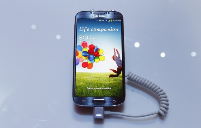 Samsung Galaxy S4 displayed during the launch
