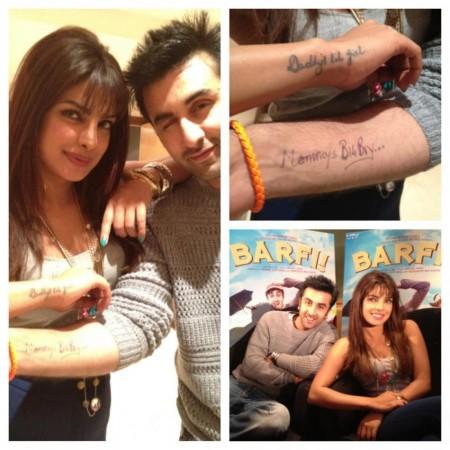 Ranbir Kapoor aping Priyanka Chopra's tattoo