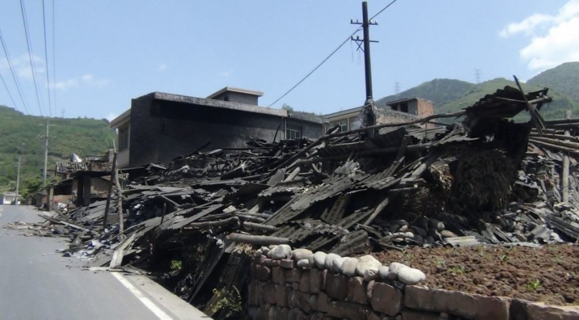Collapsed houses Ya'an, Sichuan province