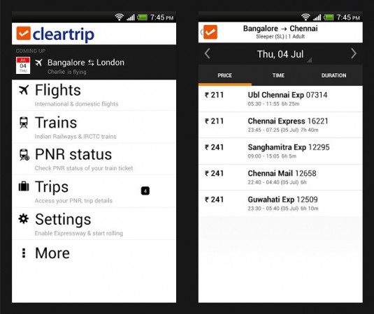 Cleartrip with latest feature that lets the user book train tickets