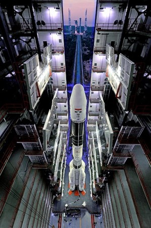 Fully integrated GSLV-D5 ready to leave Vehicle Assembly Building