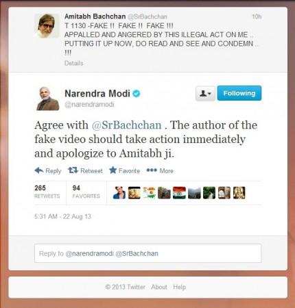 Narendra Modi Reacts to Fake Video of BigB
