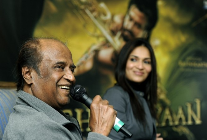 Rajnikanth, daughter Soundarya Rajnikanth (R).