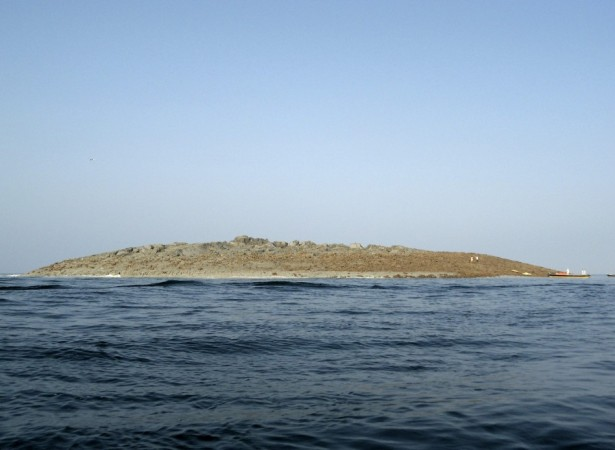 An island that rose from the sea following an earthquake is pictured off Pakistan's Gwadar coastline in the Arabian Sea.