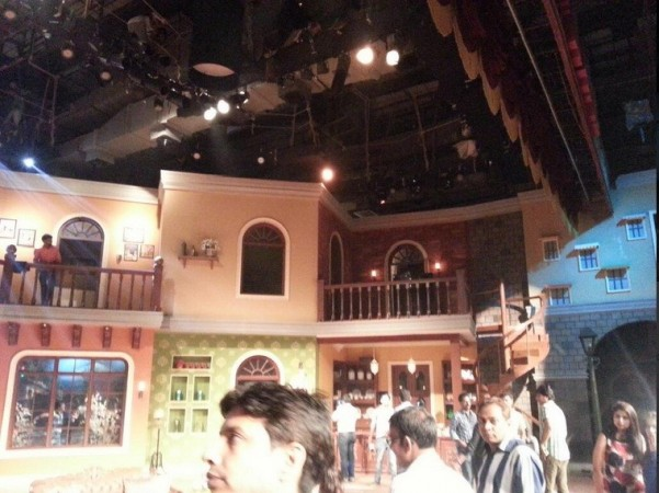 The new CNWK set under construction (Comedy Nights Twitter)