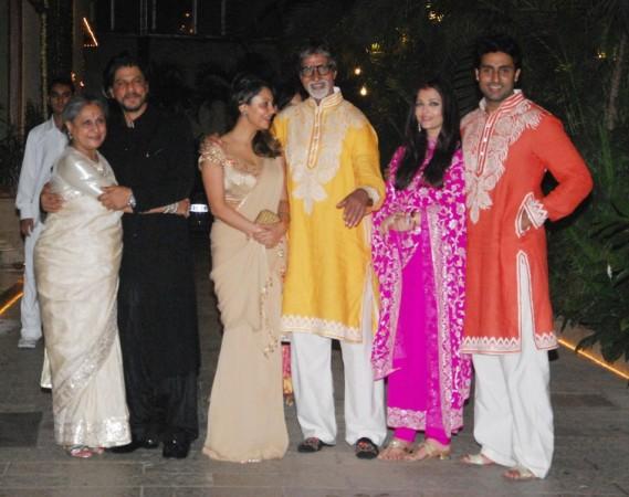 Shah Rukh and Gauri with Bachchan Family at the Diwali Bash (Varinder Chawla)