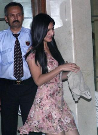 A happy Katrina in beige floral dress  (Varinder Chawla)