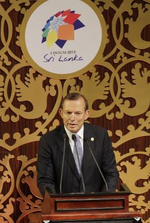 Australia's Prime Minister Tony Abbott addresses during the CHOGM opening ceremony in Colombo