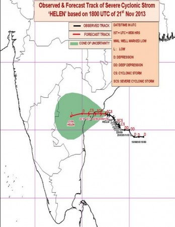 Forecast path of Cyclone Helen