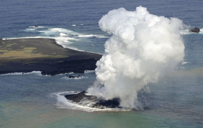 Japan Volcano Erupts Creating New Island