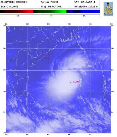 Latest satellite image of Cyclone Lehar
