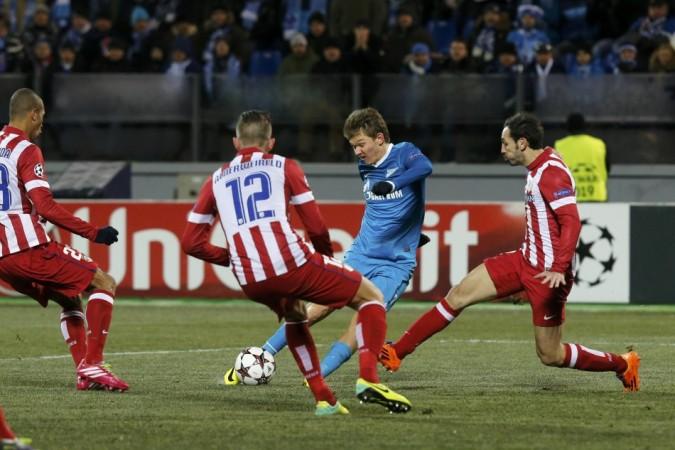 Zenit St Petersburg's Oleg Shatov in action against Atletico Madrid
