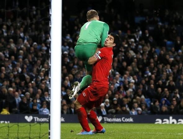 Luis Suarez Liverpool Joe Hart Manchester City