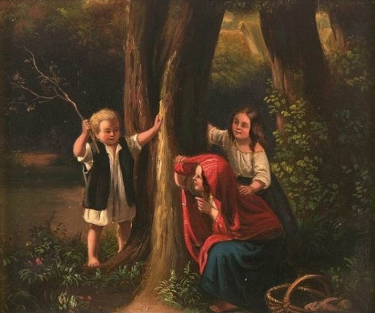 A 19th-century painting of three children playing hide and seek in a forest