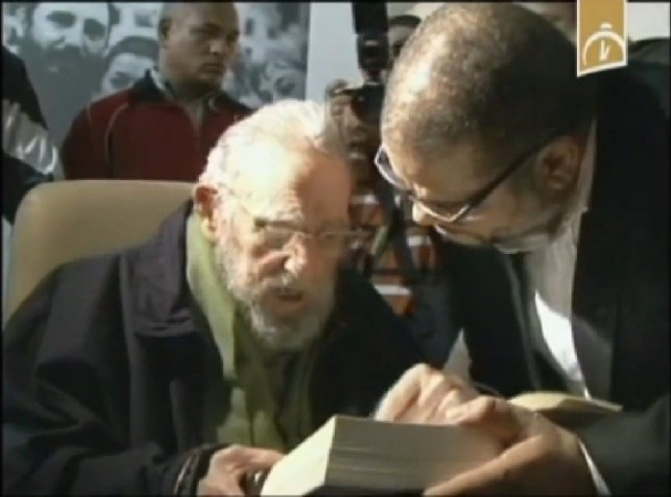 Still grab from a video taken on January 8, 2014 of former Cuban president Fidel Castro during the inauguration of the nonprofit cultural centre Kcho Romerillo, Laboratory for Art in Havana.