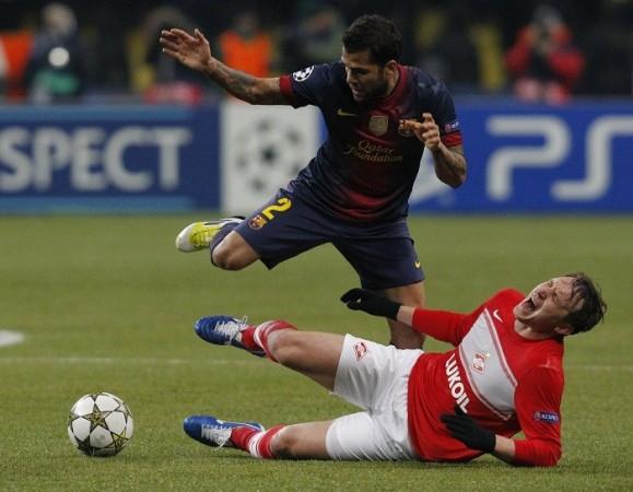 Dani Alves Barcelona Kim Kallstrom Spartak Moscow