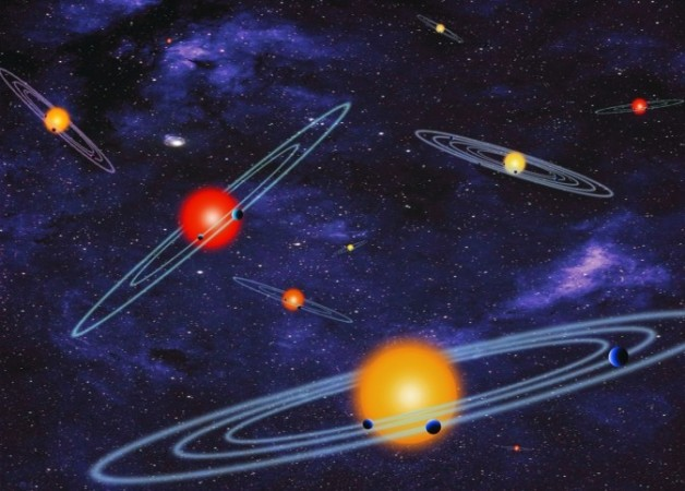 The artist concept depicts multiple-transiting planet systems, which are stars with more than one planet. The planets eclipse or transit their host star from the vantage point of the observer. This angle is called edge-on.