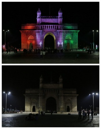 A combination picture shows the Gateway of India monument after (top) and during Earth Hour in Mumbai March 29, 2014.