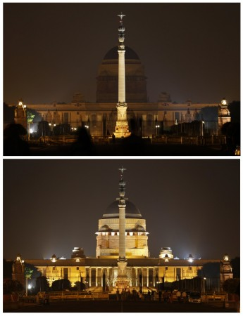 A combination picture shows India's presidential palace Rashtrapati Bhavan before (bottom) and during Earth Hour in New Delhi March 29, 2014.