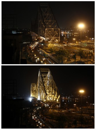 A combination picture shows the Howrah Bridge before (bottom) and during Earth Hour in Kolkata March 29, 2014.