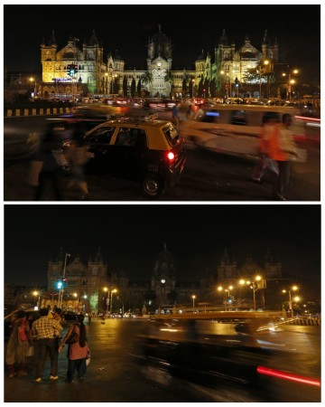 A combination picture shows the Chhatrapati Shivaji terminus railway station, also known as Victoria terminus, before (top) and during Earth Hour in Mumbai March 29, 2014.