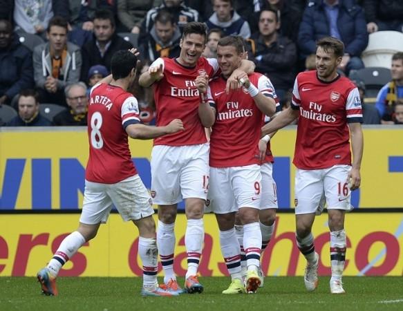 Arteta Giroud Podolski Ramsey Arsenal